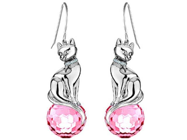 Star K Large Cat Hanging Hook Earrings with 10mm Simulated Pink Sapphire Ball in Sterling Silver