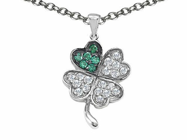 Celtic Love by Kelly Lucky Clover Pendant with Simulated Emerald in Sterling Silver