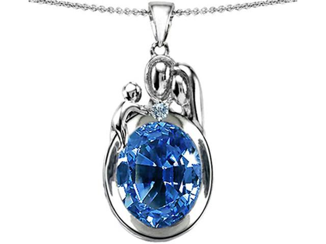 Star K Loving Mother and Father with Child Pendant with Oval 11x9mm Simulated Aquamarine in Sterling Silver