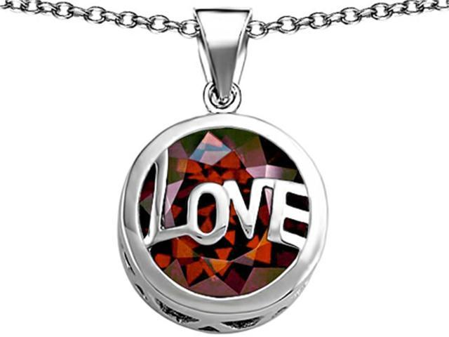Star K Large Love Round Pendant with 15mm Round Simulated Garnet in Sterling Silver