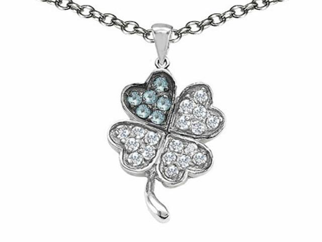 Celtic Love by Kelly Lucky Clover Pendant with Simulated Aquamarine in Sterling Silver
