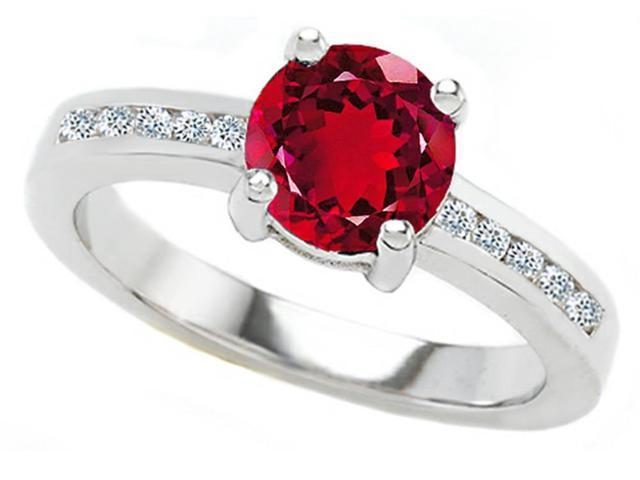 Star K Round 7mm Created Ruby Ring in Sterling Silver Size 6