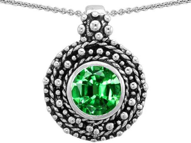 Star K Bali Style Round 7mm Simulated Emerald Pendant in Sterling Silver