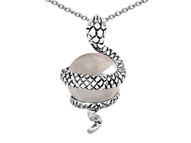 Star K Large Snake Pendant with 10mm Simulated White Topaz Ball in Sterling Silver