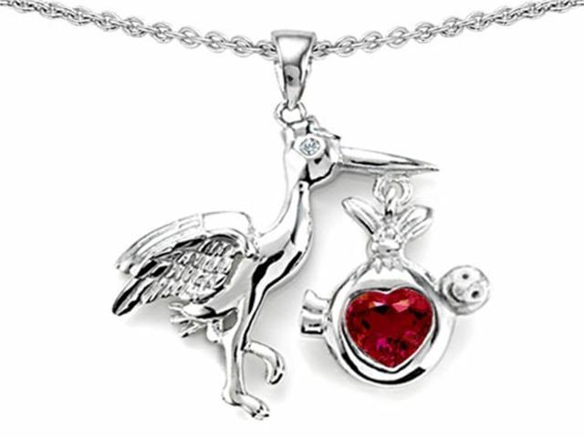 Star K Baby Stork Mother Pendant with Heart Shape Created Ruby in Sterling Silver