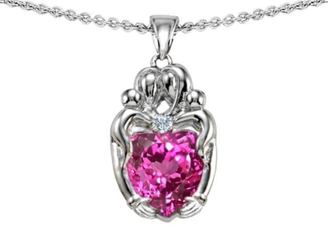 Star K Loving Mother and Twins Family Pendant Necklace with 8mm Heart Shape Created Pink Sapphire in Sterling Silver