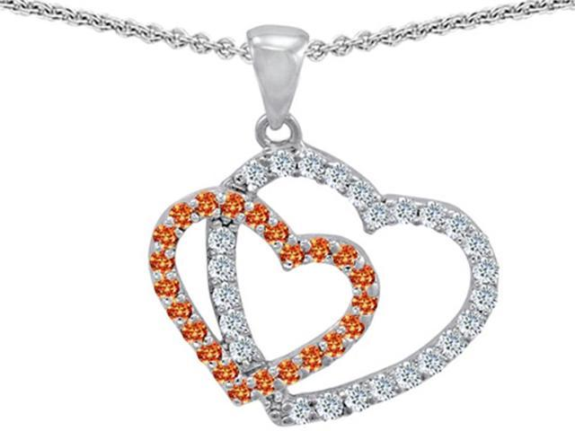 Star K Heart Shaped Simulated Orange Sapphire and Cubic Zirconia Pendant Necklace in Sterling Silver