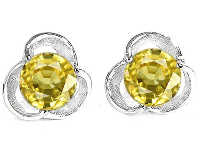 Star K Round 6mm Simulated Yellow Sapphire Flower Earrings Studs in Sterling Silver