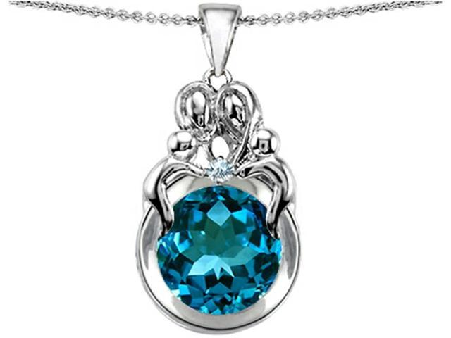 Star K Large Loving Mother and Family Pendant with Round 10mm Simulated Blue Topaz in Sterling Silver