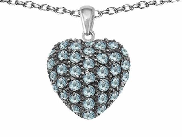 Star K Puffed Heart Love Pendant with Simulated Aquamarine in Sterling Silver