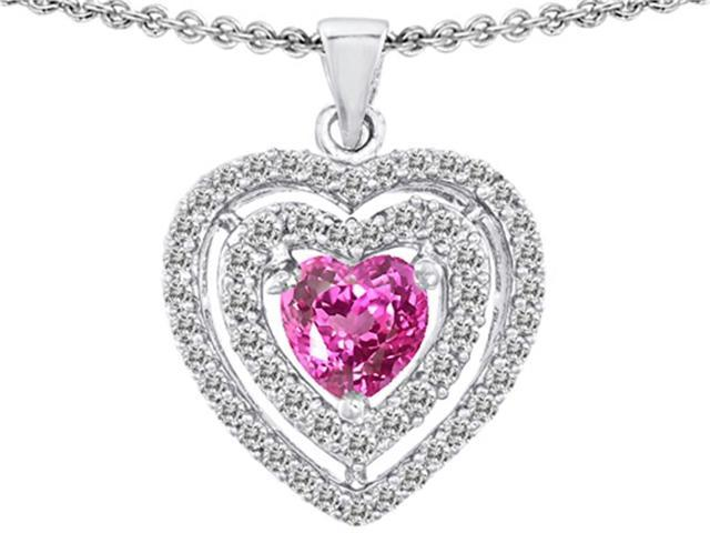Star K 6mm Heart Shape Created Pink Sapphire Pendant in Sterling Silver