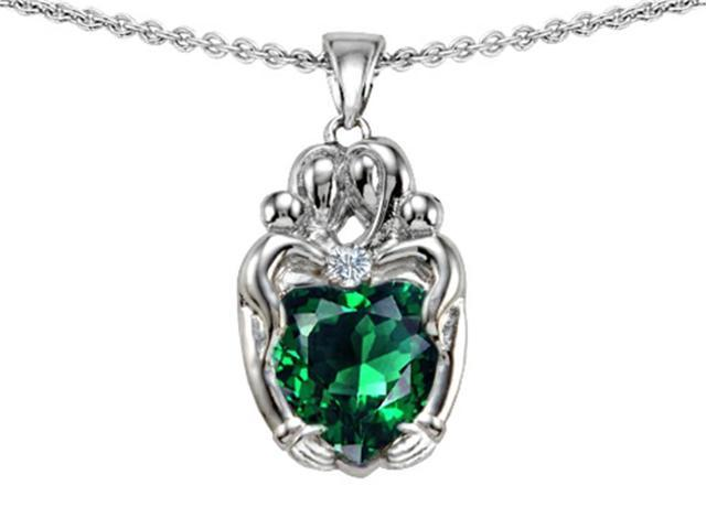 Star K Loving Mother and Twins Family Pendant with Heart Shape Simulated Emerald in Sterling Silver