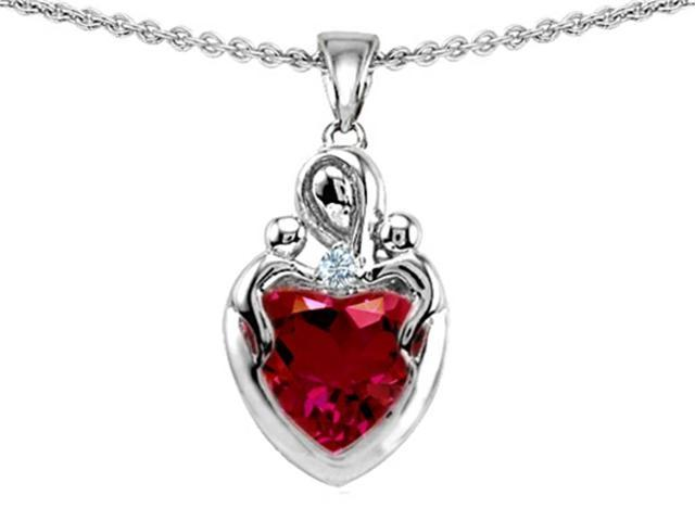 Star K Loving Mother Twin Children Pendant with 8mm Heart Created Ruby in Sterling Silver
