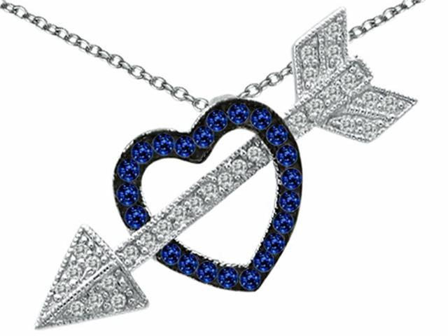 Star K Created Sapphire Heart with Love Arrow Pendant in Sterling Silver