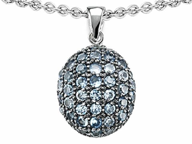 Star K Oval Puffed Pendant with Simulated Aquamarine in Sterling Silver
