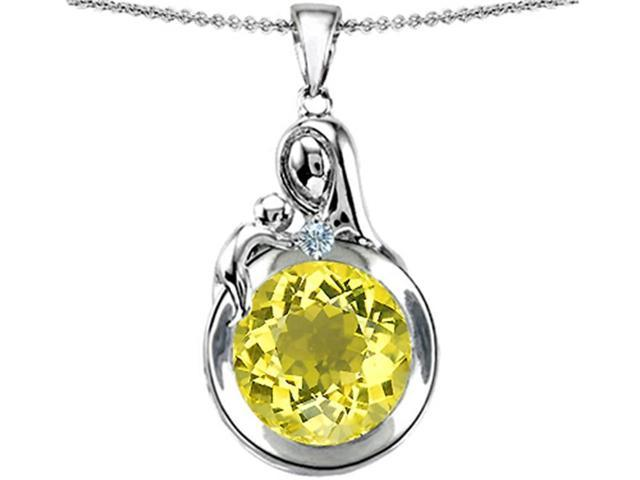 Star K Loving Mother with Child Family Large Pendant with Round 10mm Simulated Yellow Sapphire in Sterling Silver