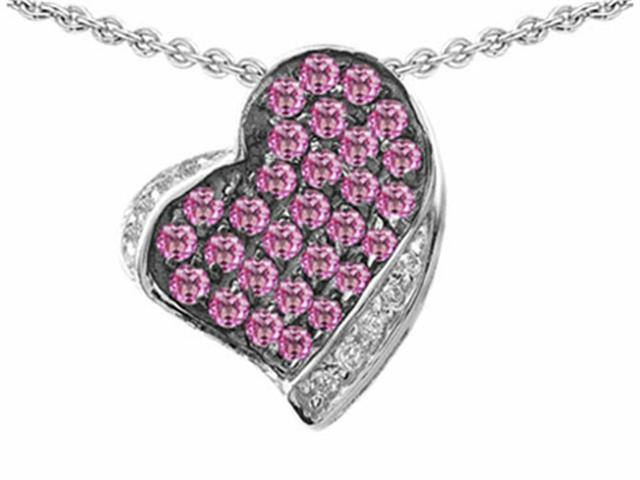 Star K Heart Shape Love Pendant with Created Pink Sapphire in Sterling Silver