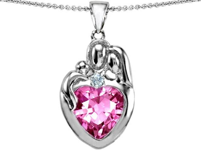 Star K Large Loving Mother Father with Child Family Pendant 12mm Heart Created Pink Sapphire in Sterling Silver