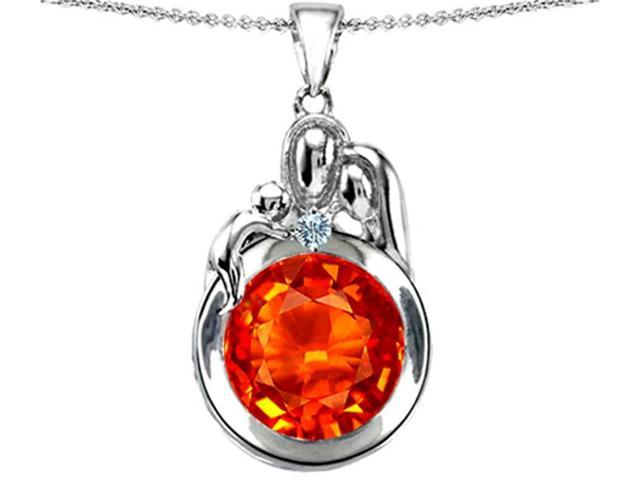 Star K Loving Mother and Father with Child Family Pendant with Round 10mm Simulated Mexican Fire Opal in Sterling Silver