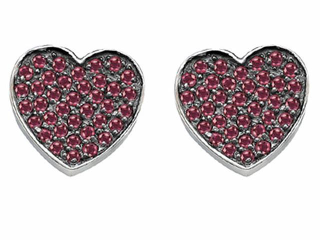 Star K Heart Shape Love Earrings with Created Ruby in Sterling Silver