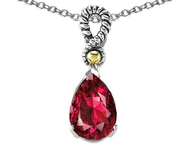 Star K 11x8mm Pear Shape Created Ruby Pendant in Sterling Silver