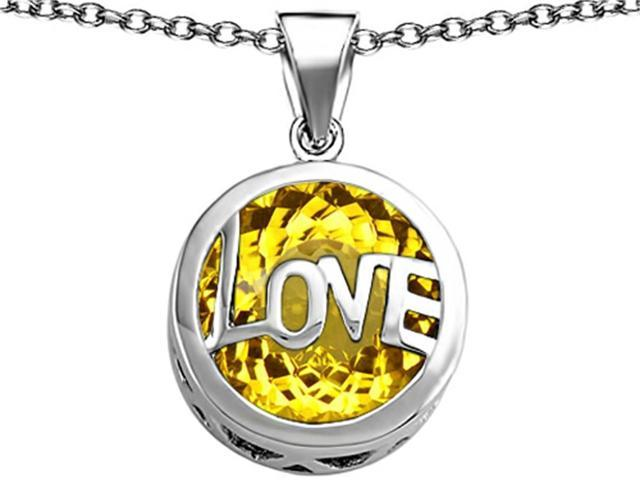 Star K Large Love Round Pendant with 15mm Round Simulated Citrine in Sterling Silver