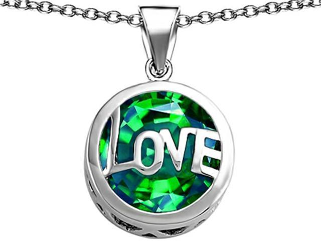 Star K Large Love Round Pendant with 15mm Round Simulated Emerald in Sterling Silver