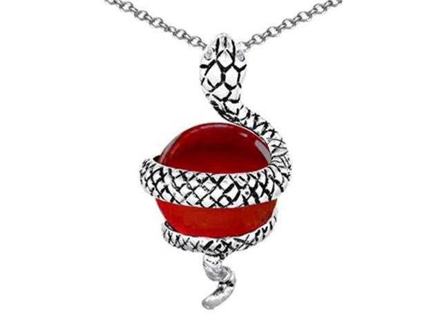 Star K Large Snake Pendant Necklace with 10mm Simulated Ruby Ball in Sterling Silver