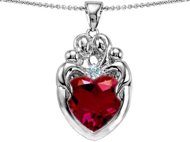 Star K Large Loving Mother Twin Family Pendant Necklace with 12mm Heart Created Ruby in Sterling Silver