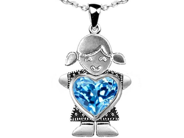 Star K Girl Holding 8mm Mother Blue Topaz Heart December Birth Month Pendant Necklace in Sterling Silver