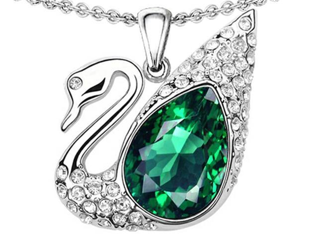 Star K Love Swan Pendant Necklace with Pear Shape Simulated Emerald in Sterling Silver
