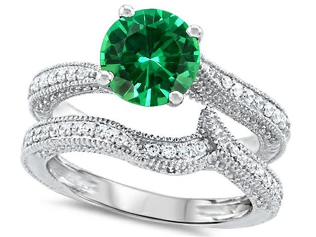 Star K Round 7mm Simulated Emerald Wedding Set in Sterling Silver Size 6