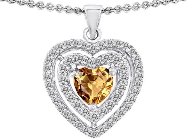 Star K 6mm Heart Shape Simulated Imperial Yellow Topaz Heart Pendant in Sterling Silver