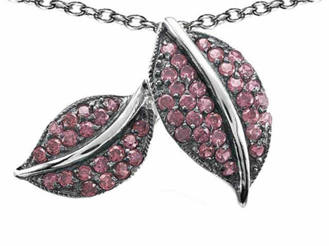 Star K Nature Lover Leaf Pendant with Created Pink Sapphire in Sterling Silver