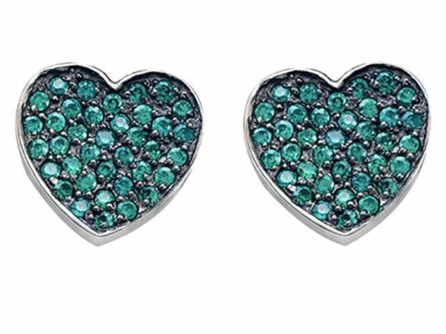 Star K Heart Shape Love Earrings with Simulated Emerald in Sterling Silver