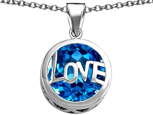 Star K Large Love Round Pendant with 15mm Round Simulated Blue Topaz in Sterling Silver