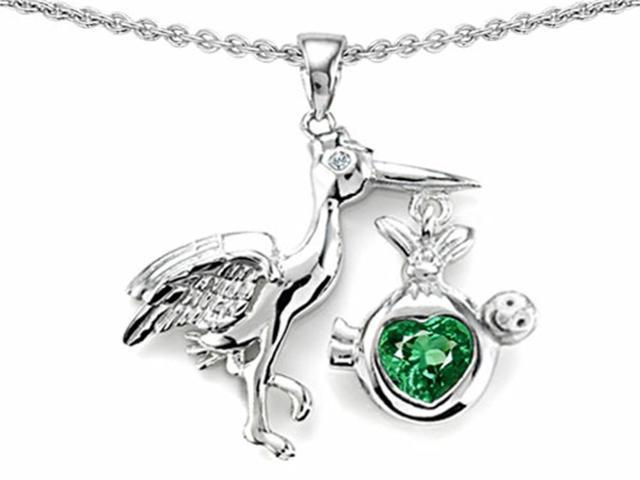 Star K Baby Stork Mother Pendant with Heart Shape 8mm Simulated Emerald in Sterling Silver