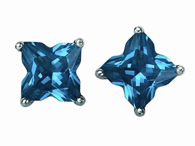 Star K Fancy Cut Star Shape Earrings Studs with Simulated Blue Topaz in Sterling Silver
