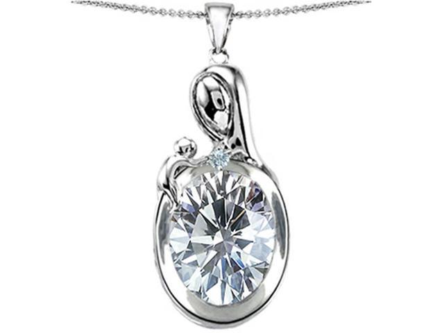 Star K Loving Mother with Child Family Pendant with Oval 11x9mm Genuine White Topaz in Sterling Silver