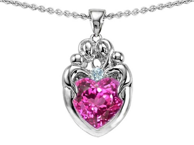 Star K Loving Mother Twins Family Pendant with 8mm Heart Created Pink Sapphire in Sterling Silver