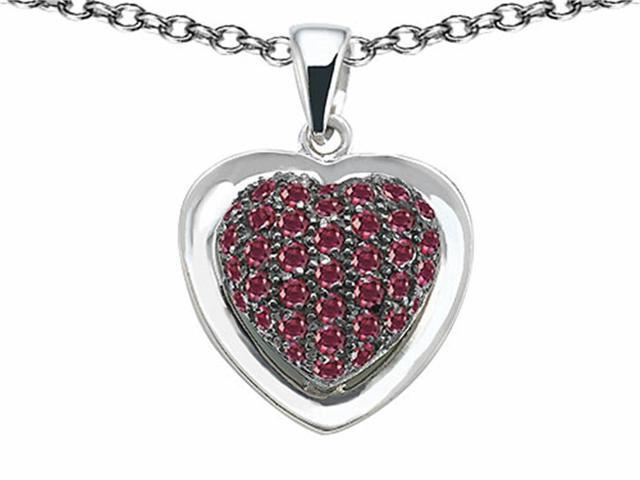 Star K Heart Shape Love Pendant with Created Ruby in Sterling Silver
