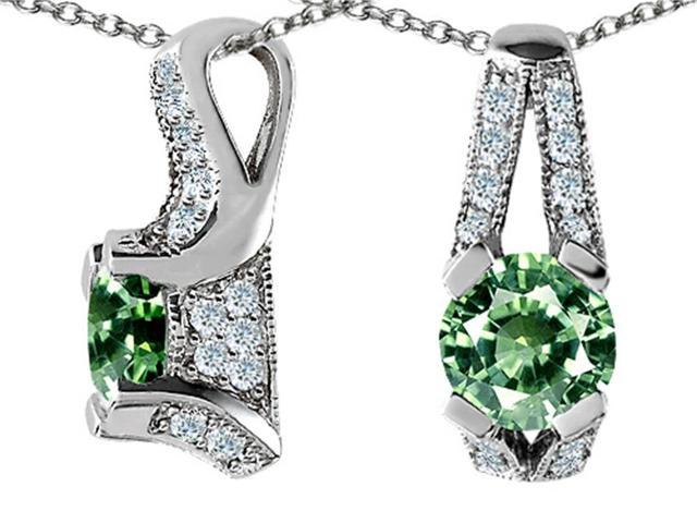Star K Round Simulated Green Sapphire Designer Pendant in Sterling Silver