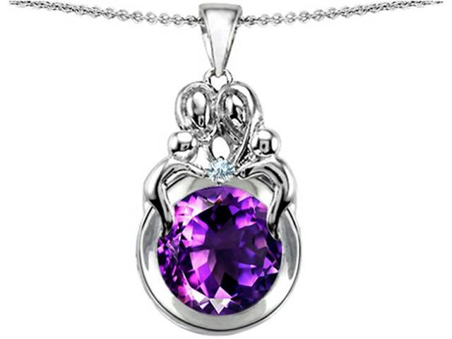 Star K Large Loving Mother and Family Pendant Necklace with Round 10mm Simulated Amethyst in Sterling Silver
