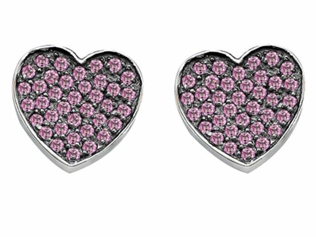 Star K Heart Shape Love Earrings with Created Pink Sapphire in Sterling Silver