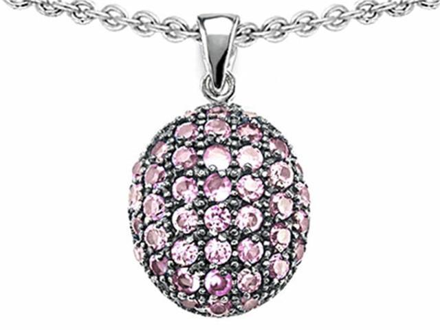 Star K Oval Puffed Pendant Necklace with Created Pink Sapphire in Sterling Silver