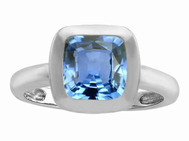 Star K 8mm Cushion Cut Solitaire Ring with Simulated Aquamarine in Sterling Silver Size 7