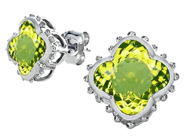 Star K Clover Earrings Studs with 8mm Clover Cut Simulated Peridot in Sterling Silver