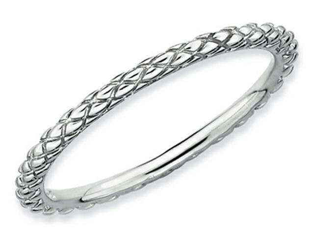 Stackable Expressions Sterling Silver Rhodium Criss-cross Stackable Ring Size 6