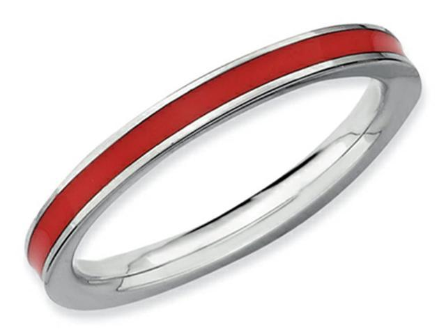 Stackable Expressions Sterling Silver Red Enameled 2.25mm Stackable Ring Size 5
