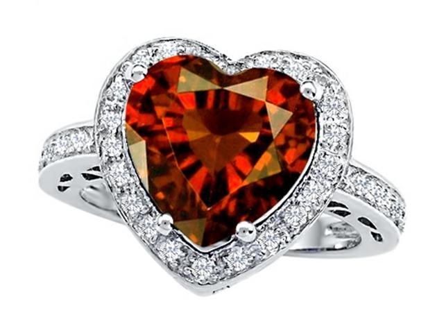 Star K Large 10mm Heart Shape Simulated Garnet Wedding Ring in Sterling Silver Size 6